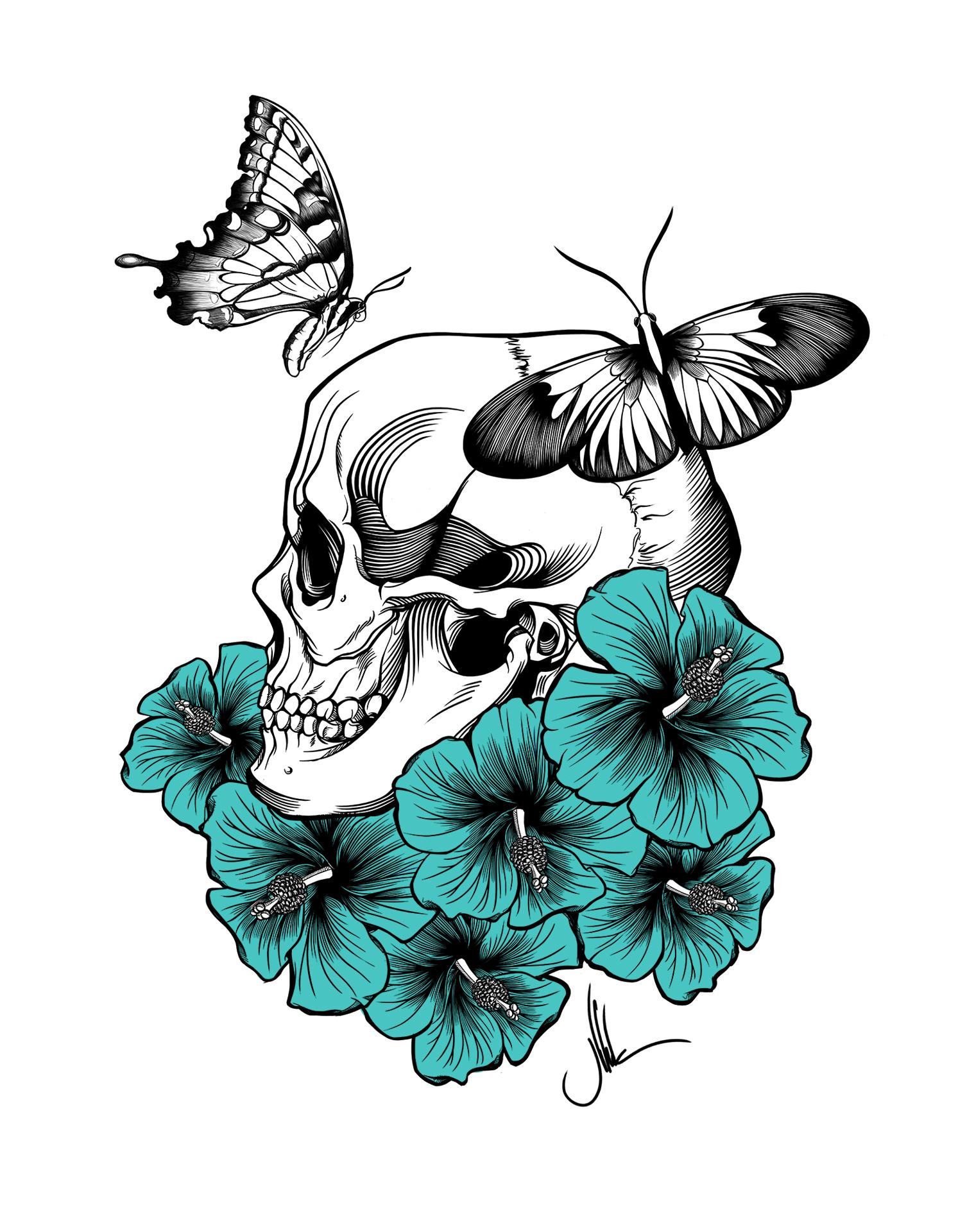 flowers & skull2